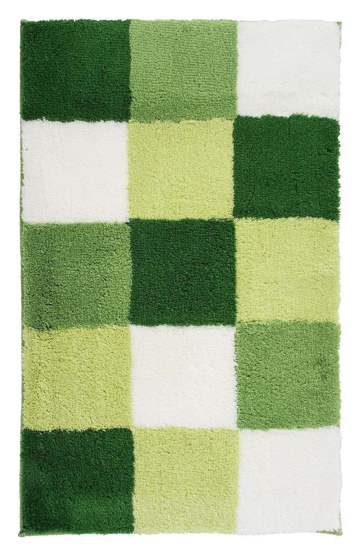 Home4You Badematte Badteppich Badezimmerteppich Tiziana 12   60 x 100 cm   Kiwi-Limette-Weiß   Acryl