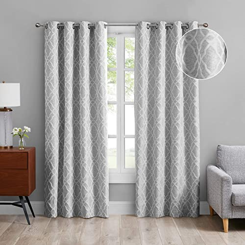 MODERNOVIA 52×108 Inch Light Gray Room Darkening Curtain Grommet Moroccan Geo Jacquard Pattern Drape