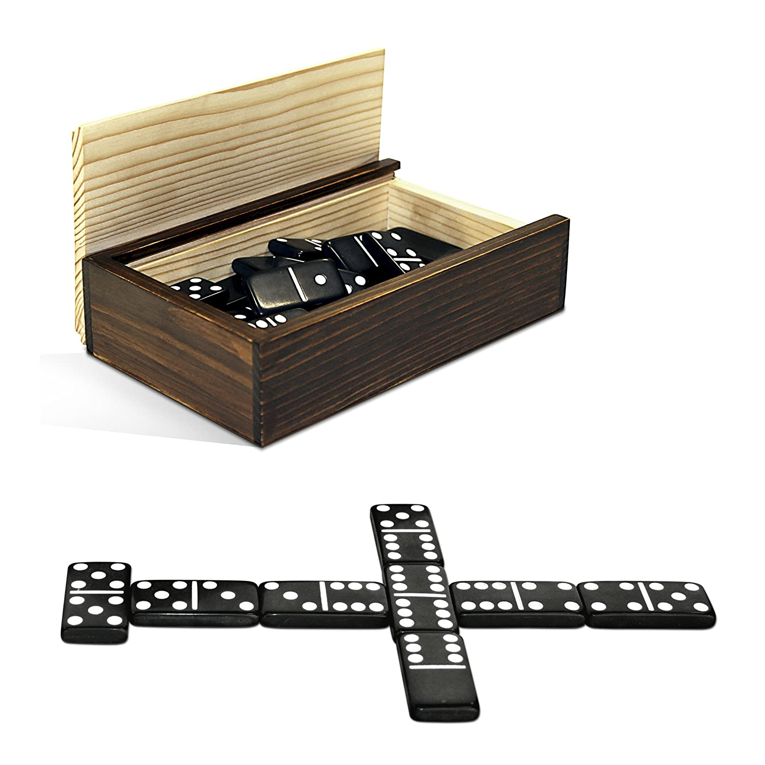 Amazon.com: WE Games Double 6 Black Dominoes with White Dots in ...