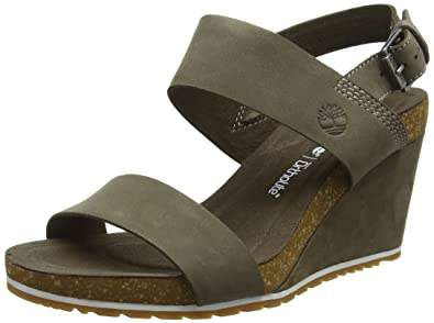 Timberland Women s Capri Sunset Wedge Mules, Grey (Canteen Naturebuck 901),  ... b9ba1531954