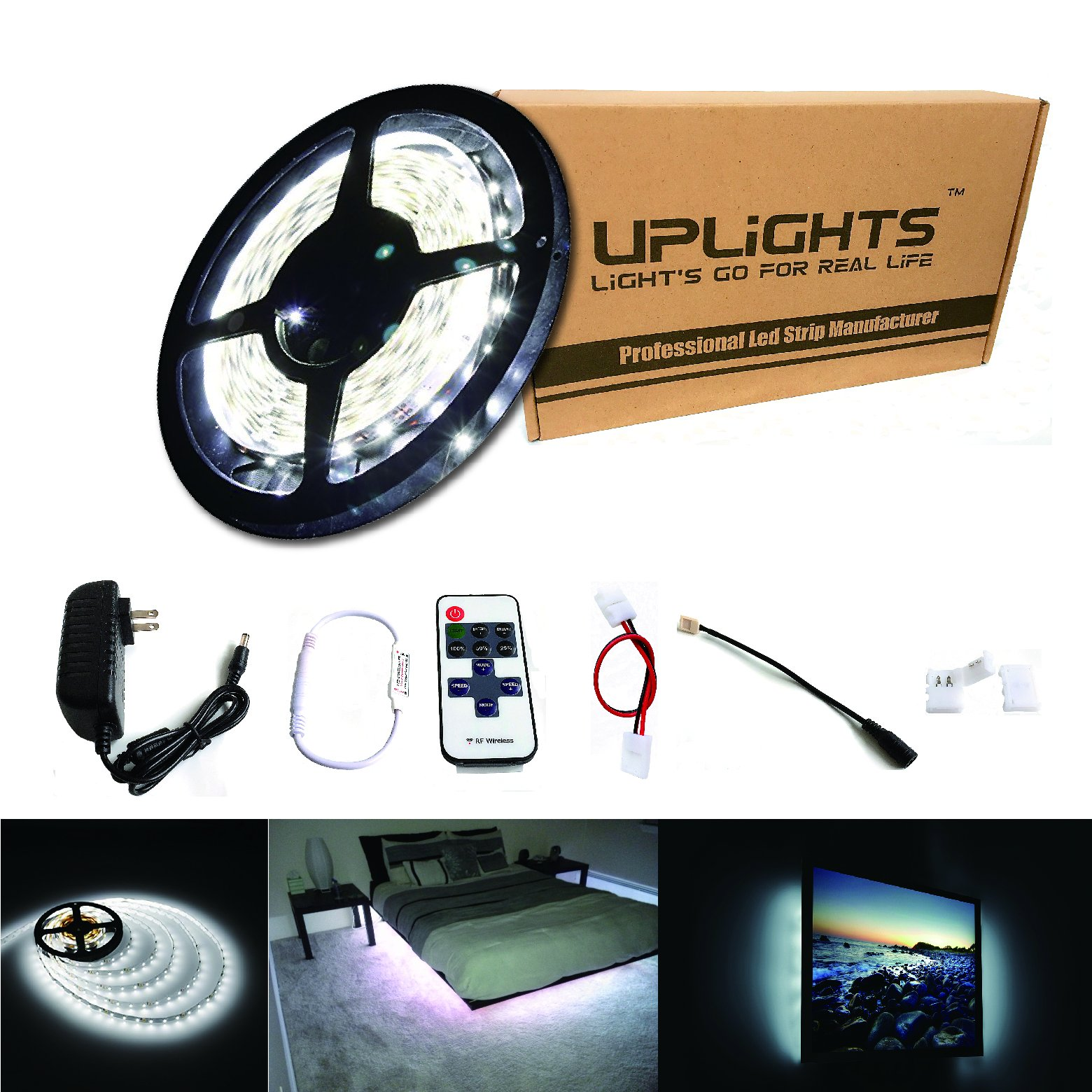 RoLightic LED Strip Light 16.4ft 300leds White 6000K 3528 Led Tape Lights Full Kit with 11key RF Remote Controller & 2A Power Supply for Home Lighting, Kitchen, Indoor Decoration (Pure White)
