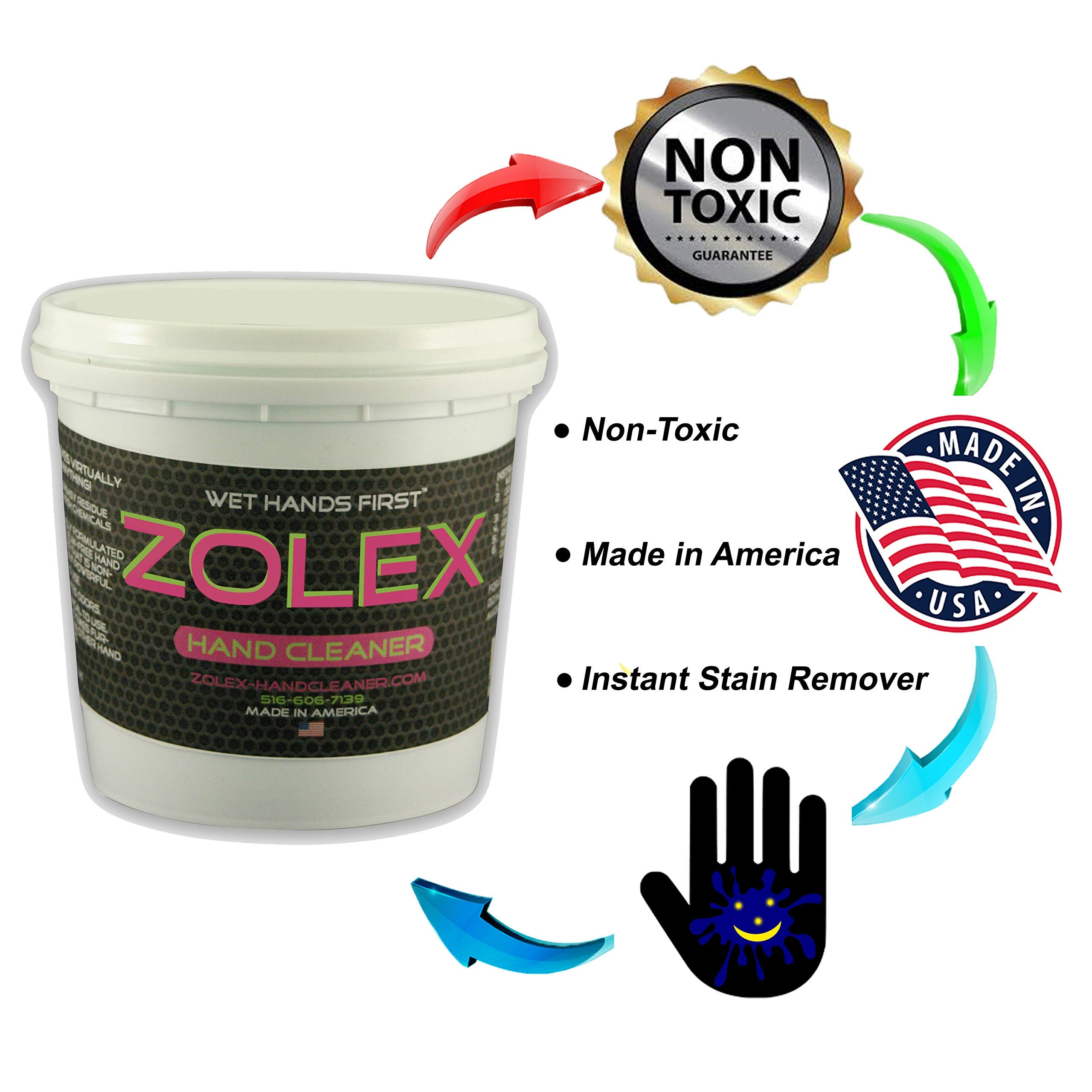 Zolex Water Activated Hand Cleaner for Working Hands| Stain Remover for Heavy Duty Workers | Grease Remover for Mechanics and Heavy Duty Workers - Non-Toxic Petroleum Free | Shop-Sized 3 lb. Tub | by Zolex (Image #2)