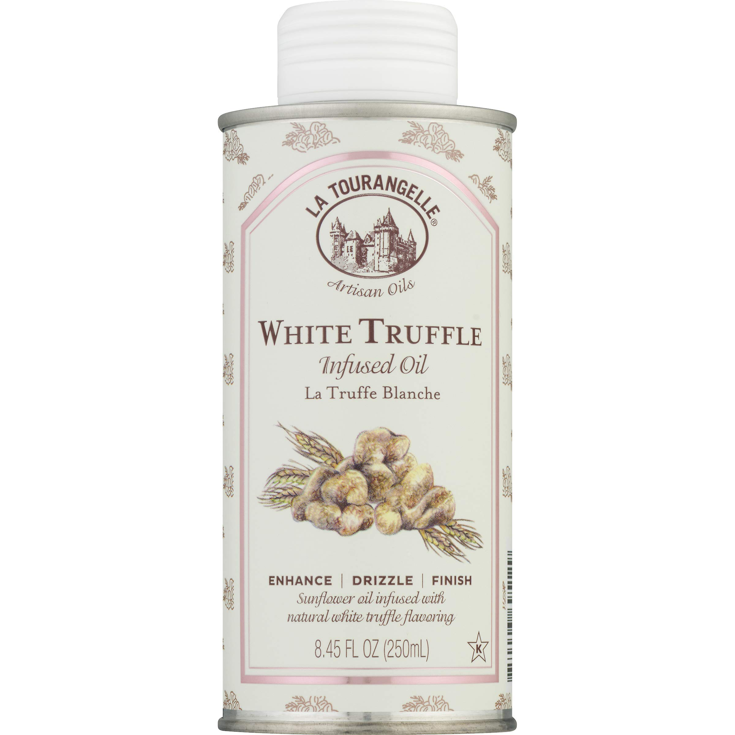 La Tourangelle White Truffle Infused Oil, Earthy & Bold Blend With Real Truffle Extract & Sunflower Seed Oil, 8.45 Oz by La Tourangelle