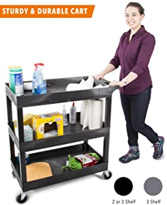 Original Tubster 3 Shelf Utility Cart/Service Cart - Heavy Duty - Supports up to 400 lbs! - Tub Carts w/Deep Shelves - Great for Warehouse, Garage, Cleaning, More! (3 Shelf - 32 x 18 - Black) (Black)