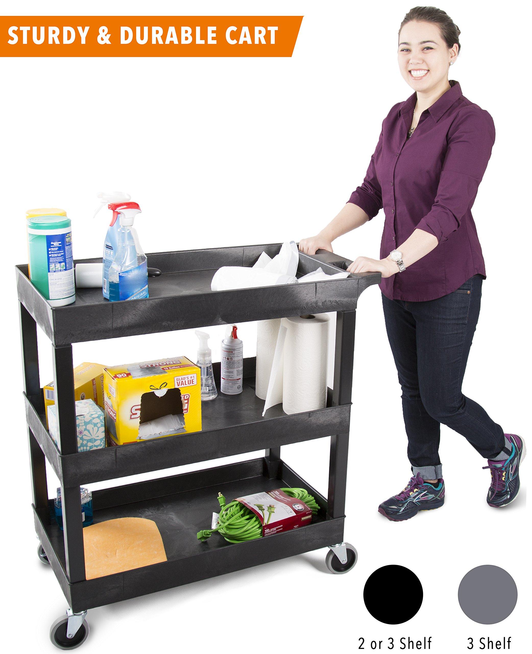 Original Tubster - Shelf Utility Cart/Service Cart - Heavy Duty - Supports up to 400 lbs! - Tub Carts & Deep Shelves (Three Shelf Black)