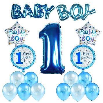 Kesote 17 Stück Geburtstag Ballon Set Helium Folie Ballons Und Luftballons Für Geburtstag Deko 1 Jahr Alt Baby Boy Junge