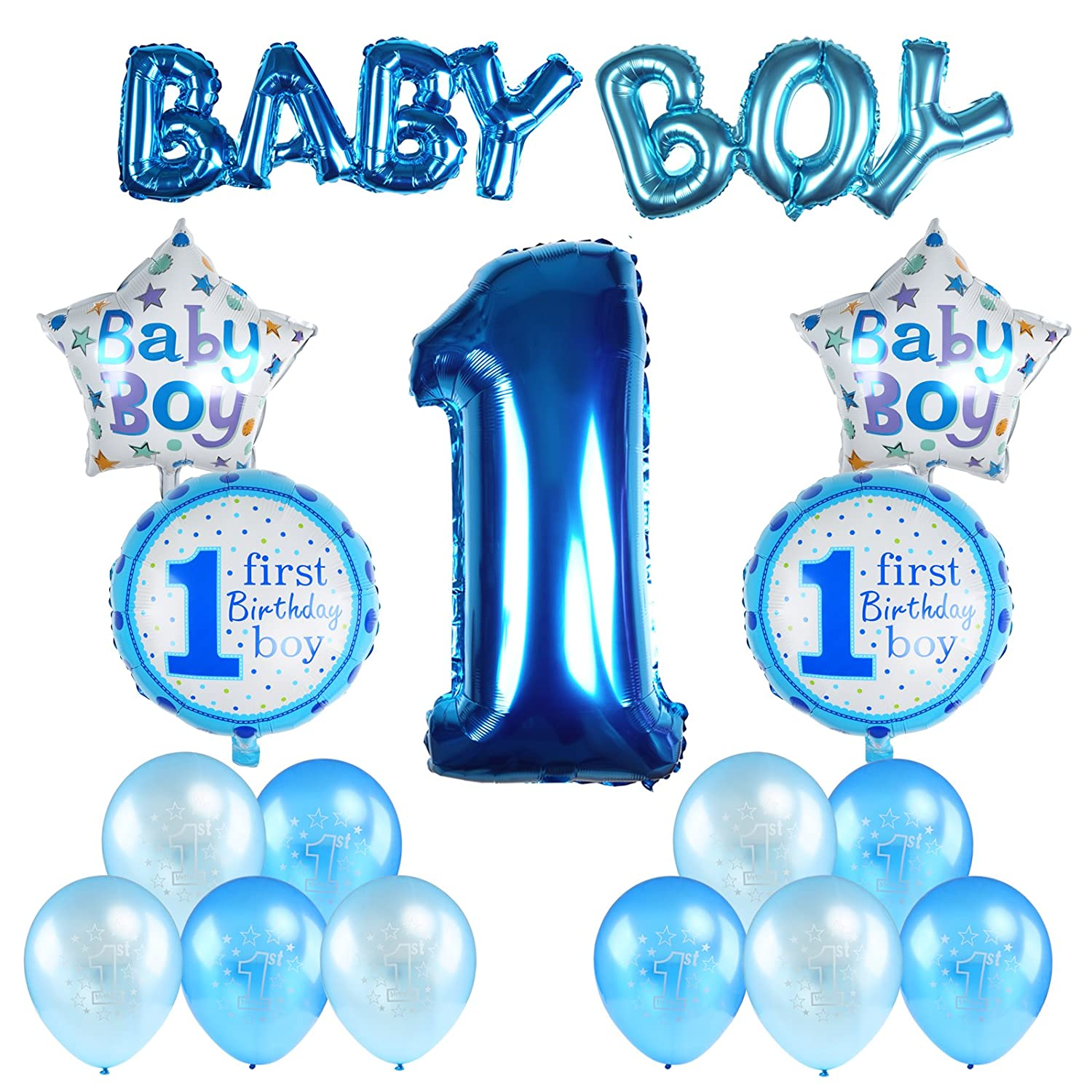 Kesoto Baby Boy 1st Birthday Party Decoration Set - Inflatable Helium Foil Balloons Supplies Party Air Balloons Set for Baby Shower - Blue