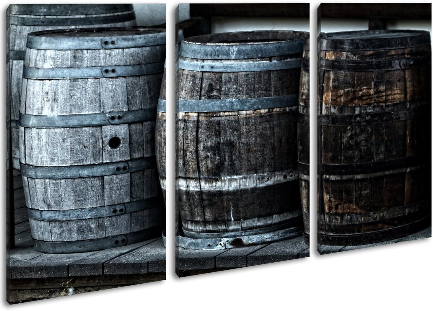 Vieja madera barriles con vino como Lienzo, diseño enmarcado en marco de madera, impresión digital de alta calidad con marco, no es un póster o cartel, lona, Dreiteilig (120x80)