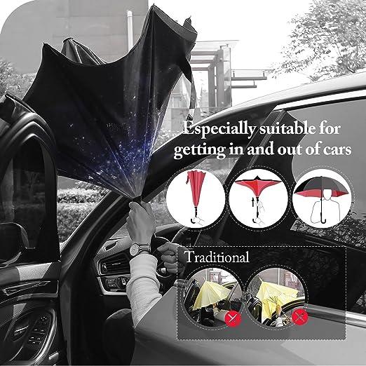 Amazon.com: Utombrello Windproof Car Reverse Paraguas Big Stick Dual Automobile Reversible Parasol with C Shape Handle UV Protection Carrying Bag for ...
