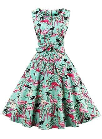037c94b636ec Futurino Women s Vintage Classy Floral 1950s Audrey Hepburn Tea Swing Midi  Dress