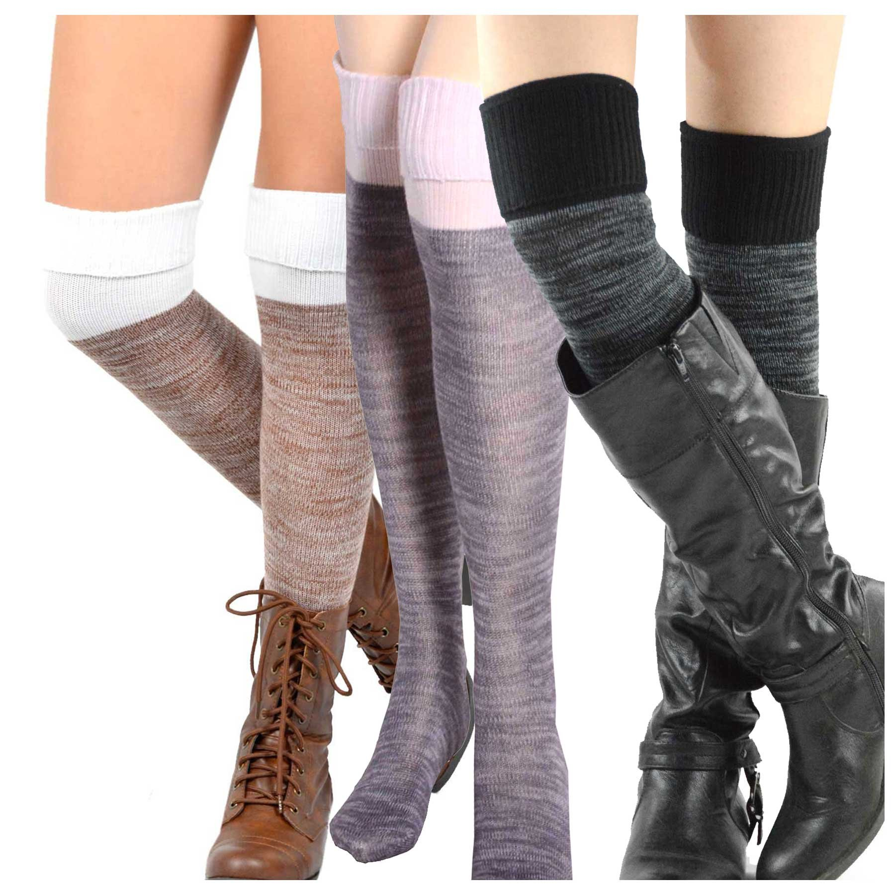 Teehee Women's Fashion Cotton Over The Knee Socks - 3 Pairs Pack (2 Color Cuff)
