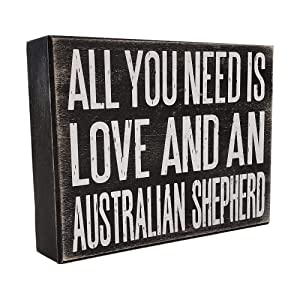 JennyGems All You Need is Love and a Australian Shepherd - Stand Up Wooden Box Sign - Australian Shepherd Home Decor - Aussie Sheperd Decorations and Accessories - Dog Artwork, Queensland,