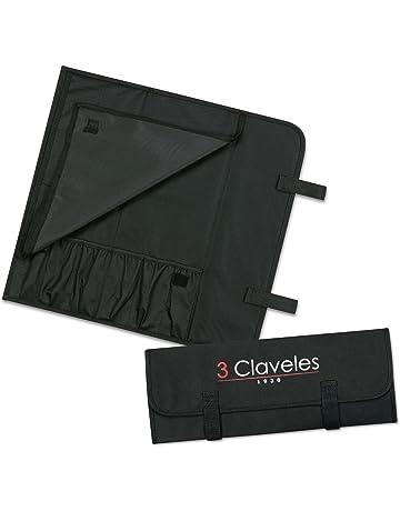 3 Claveles - Estuche Profesional Porta Cuchillos, Lona Rígida Lavable, hasta 6 Piezas