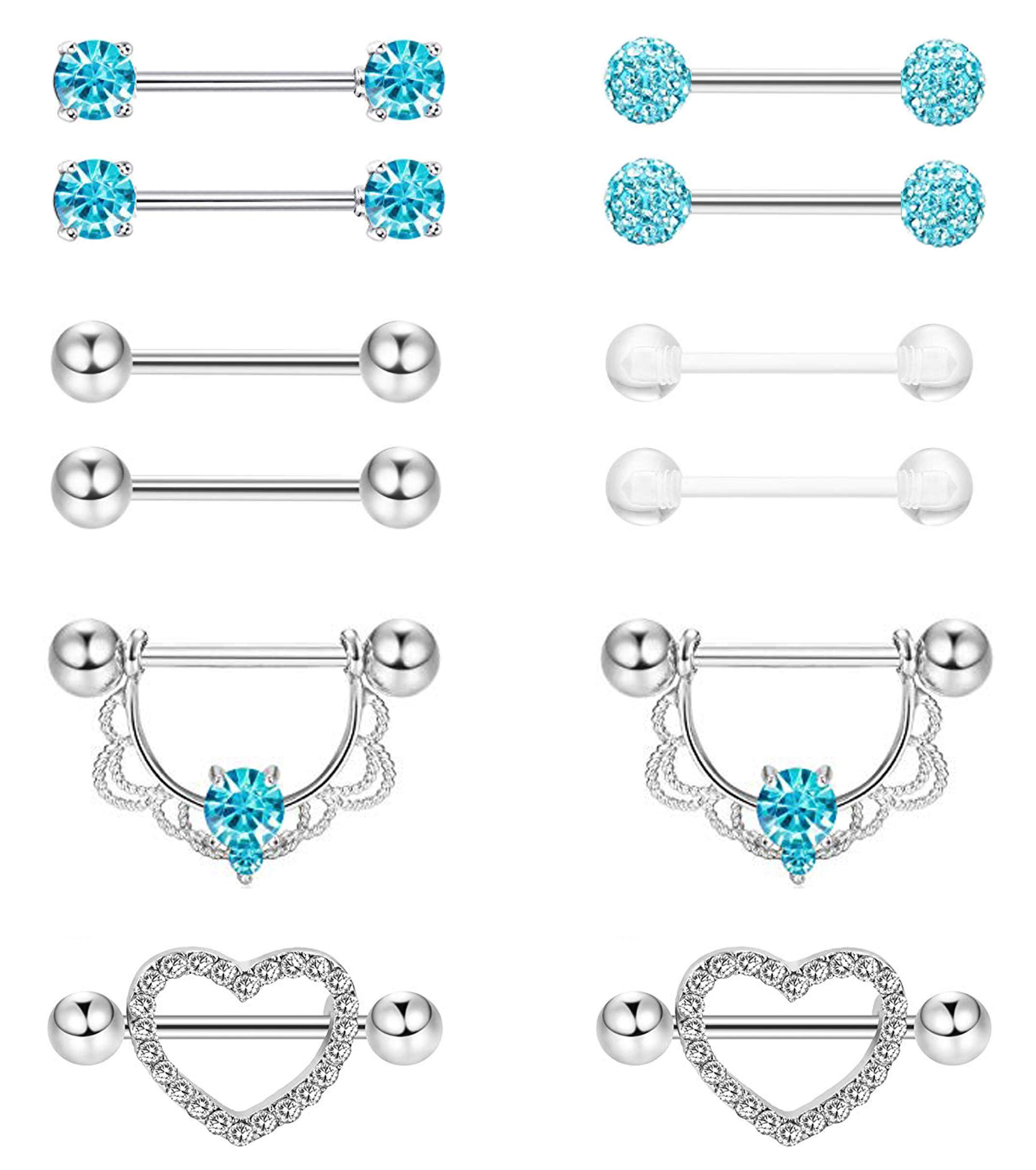 Masedy 6 Pairs 14G 316L Stainless Steel Nipplerings Nipple Tongue Rings Women Girls CZ Barbell Body Piercing Jewelry Blue by Masedy