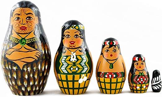 Russian Nesting Dolls Polynesian Maori Matryoshka 5 Pcs