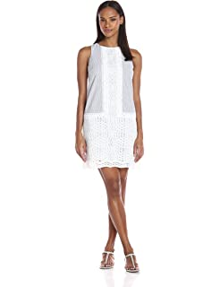 906b8c17c4b London Times Women s Sleeveless Round Neck Seersucker Shift Dress W. Lace  Trim