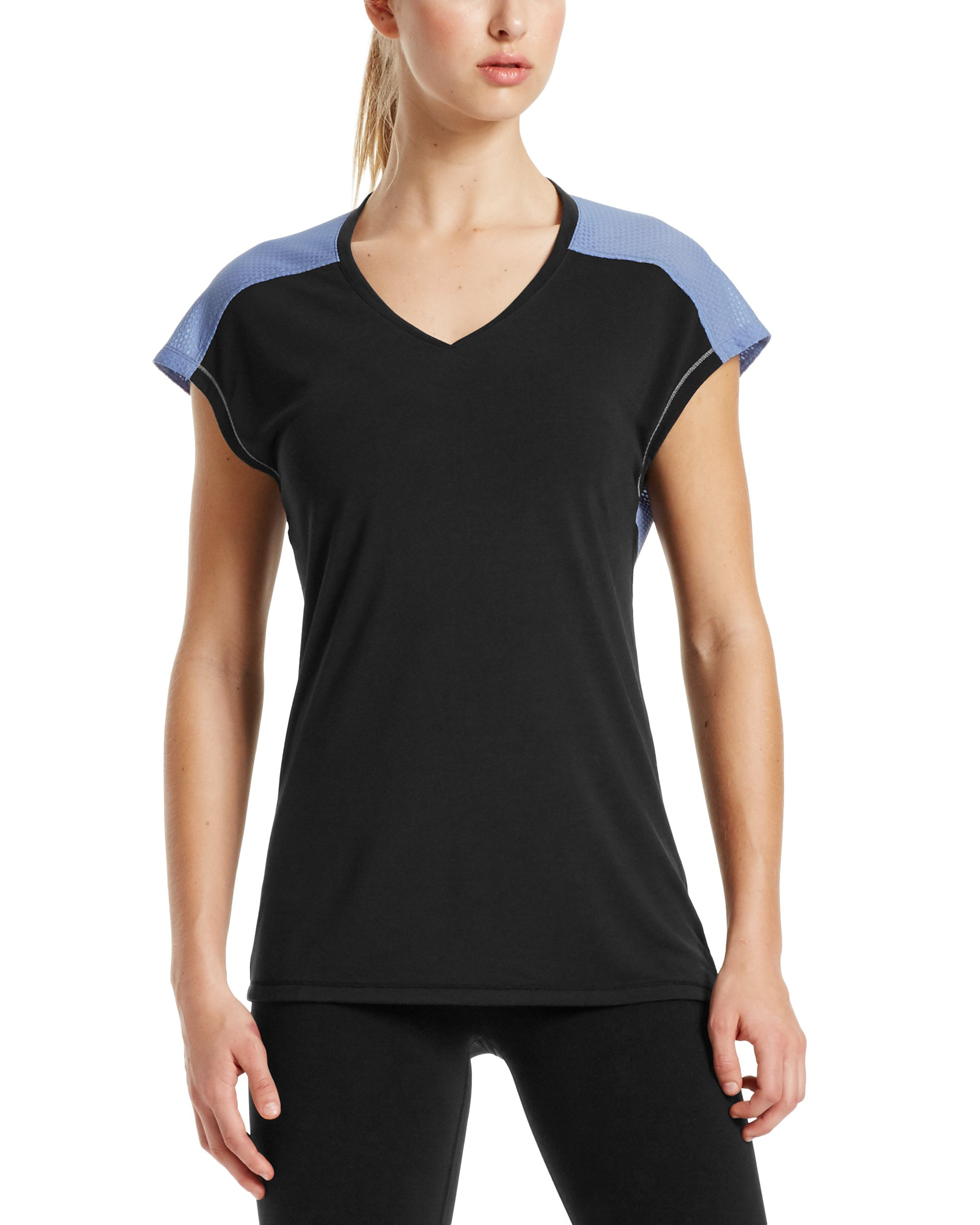 Mission Women's VaporActive Isobar Open Back Top, Moonless Night/English Manor, Large