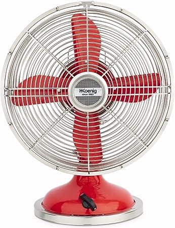 H.Koenig JOE50 Ventilador Rojo, Ventilador Eléctrico Retro Vintage ...