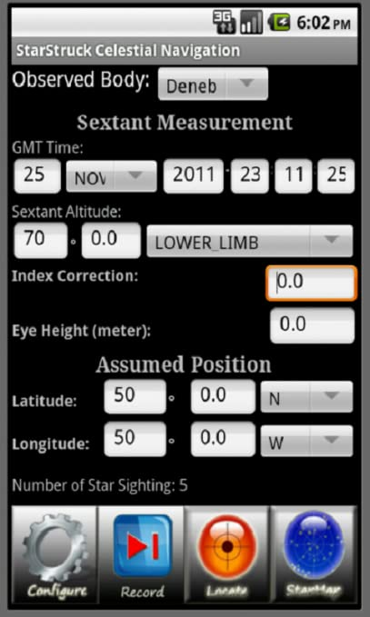 StarStruck Navigation for Android 2 1 and later, Celestial Navigation  Application to Complement Sextants