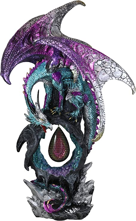 Ebros Large 20 Tall Deep Space Purple Dragon Guarding Teardrop Crystal In Geode Rock Cave Statue With Led Light Medieval Dungeons And Dragons Fantasy Decor Figurine Home Kitchen