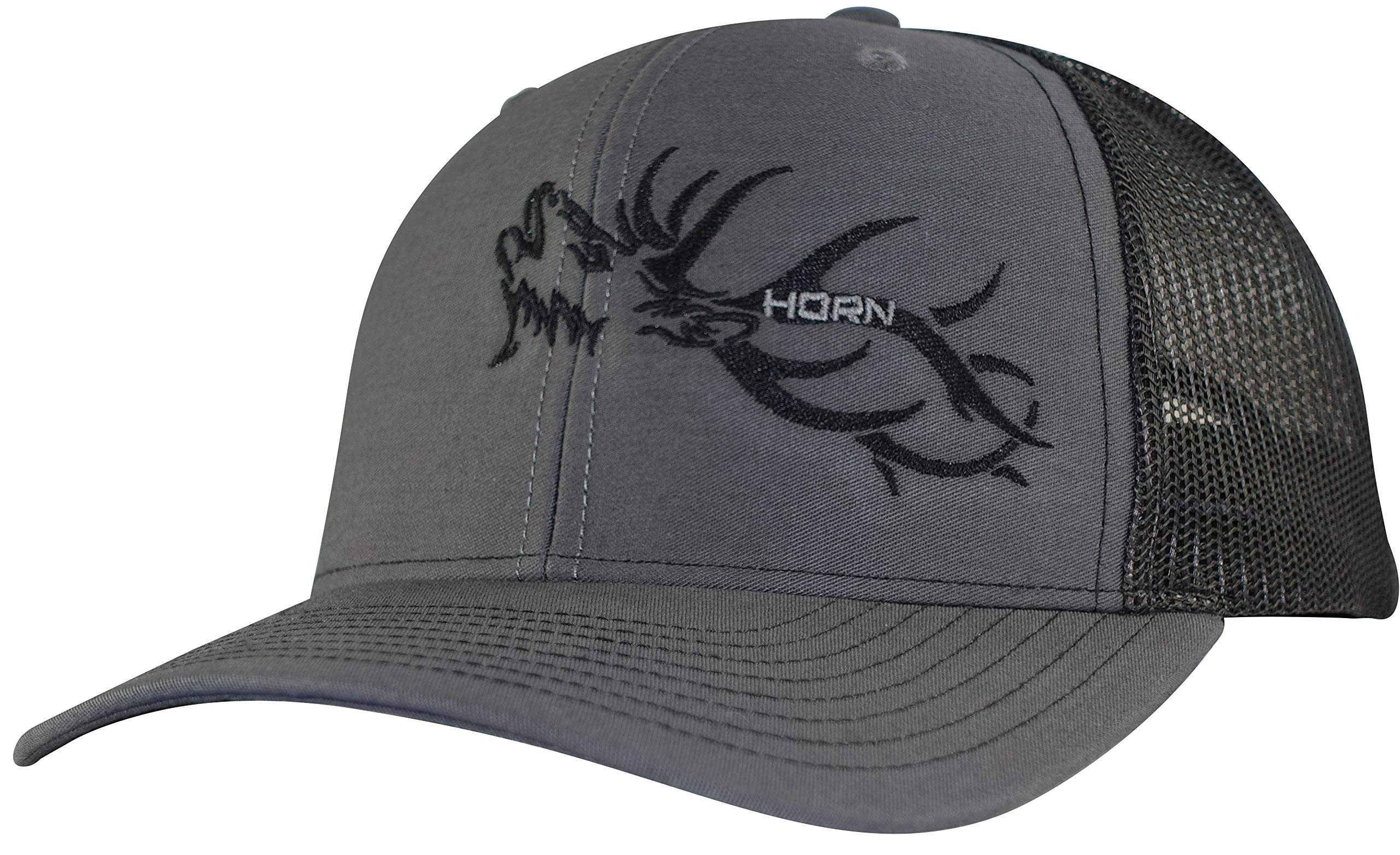 bb7d4277796267 Horn Gear Trucker Hat - Hunters Series Caps - Elk Edition Hats - High  Air-Flow Cooling Mesh Design (Charcoal/Black)