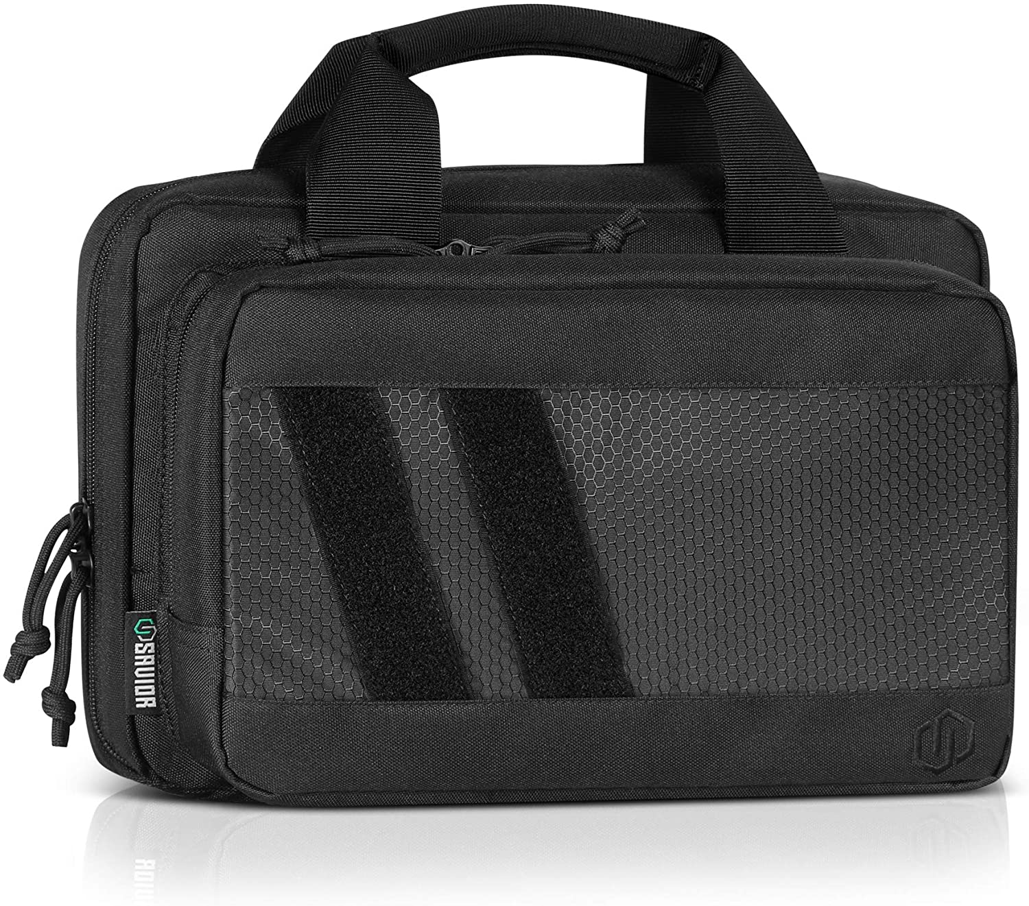 Savior Equipment Specialist Series Tactical Double Handgun Firearm Case Discreet Pistol Bag, Lockable Compartment, Additional Magazine Storage Slots