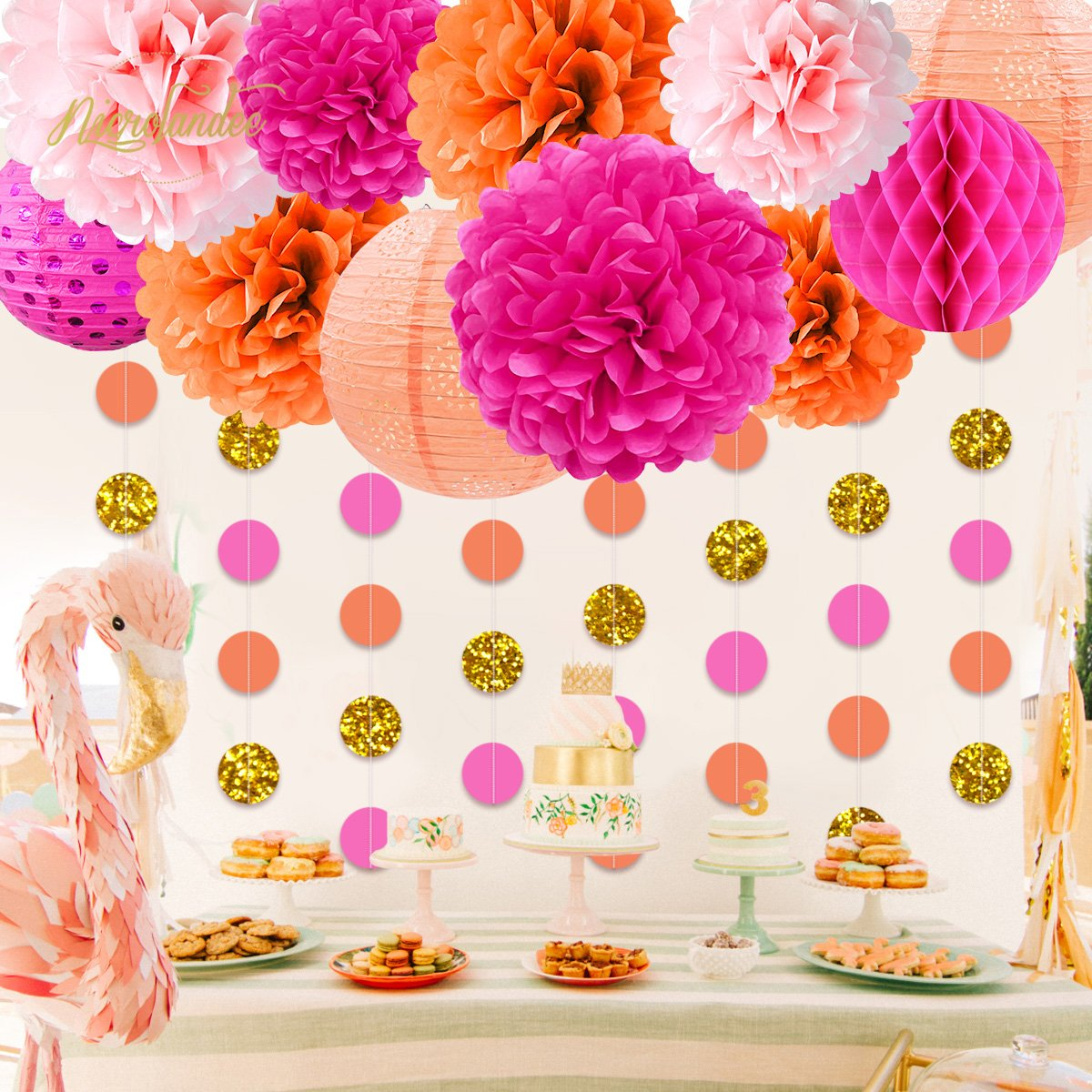 NICROLANDEE Pink and Orange Birthday Party Decoration Pack Paper Lanterns Tissue Flower Poms Gold Glitter Garland for Flamingo Bachelorette Birthday Baby Shower Thanksgiving Fiesta Festival Decor by NICROLANDEE (Image #3)