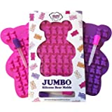 "NEW UNIQUE Extra Large Candy Gummy Bear Mold - 2 Big Molds + 2 BONUS Droppers - BPA Free FDA Approved Silicone - Make Bigger 1.2"" Incredibly Detailed HEALTHY Gelatin Gummie Bears No Kid Could Resist"