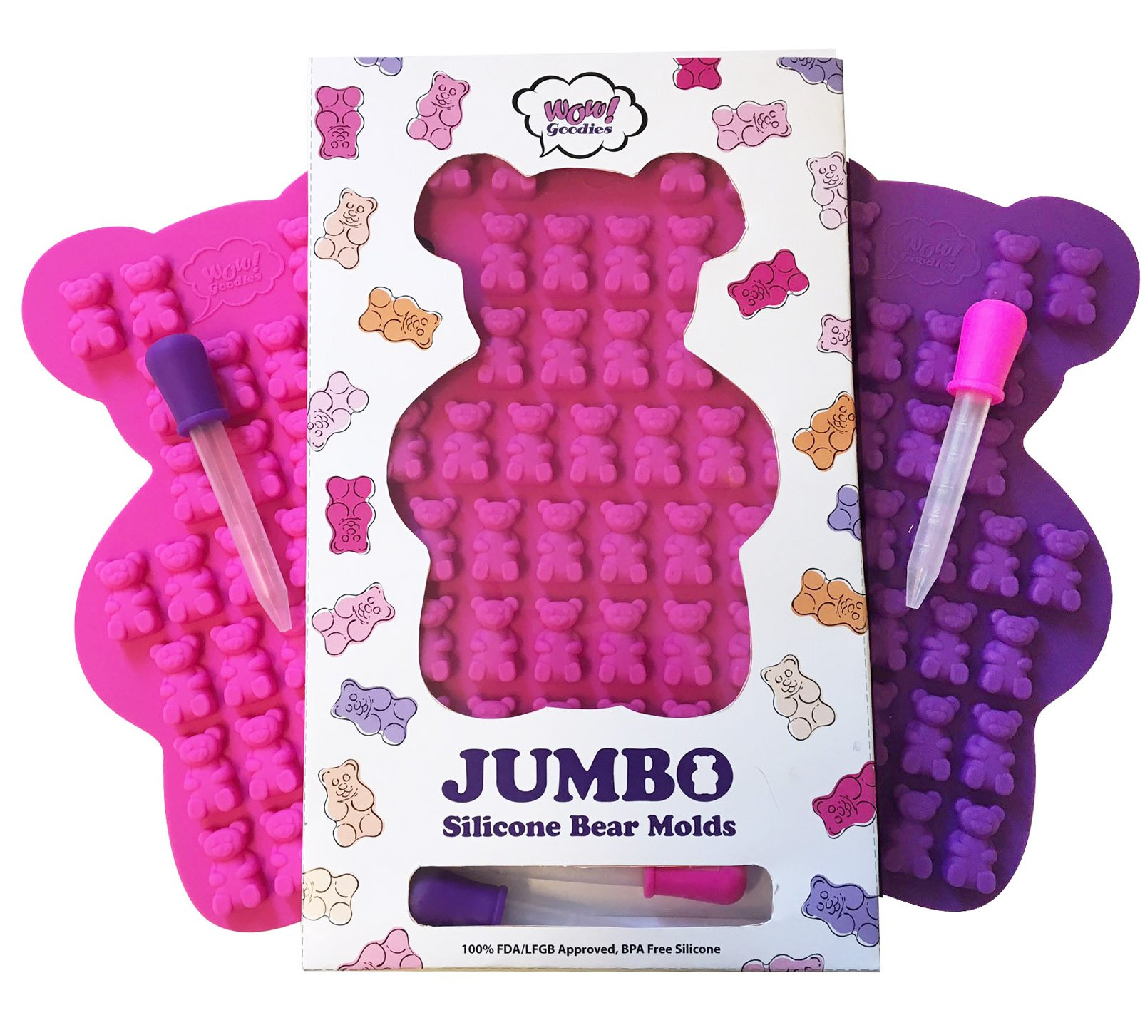 NEW UNIQUE Extra Large Candy Gummy Bear Mold - 2 Big Molds + 2 BONUS Droppers - BPA Free FDA Approved Silicone - Make Bigger 1.2'' Incredibly Detailed HEALTHY Gelatin Gummie Bears No Kid Could Resist