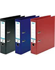 Elba Strongline A4 Plastic on Board Lever Arch File, Assorted, Pack of 3