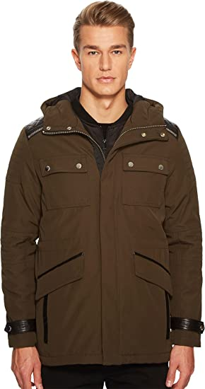 e6e77b4794 The Kooples Men's Parka with Crossed Topstitching Khaki Small at ...