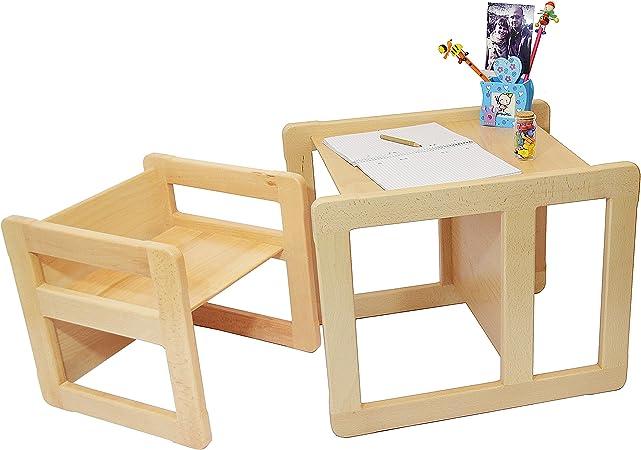 Obique Set Mobilio Multifunzionale 3 in 1 per Bambini Un Tavolino Multifunzionale E Una Sedia Multifunzionale per Bambini O Due Tavolini da caffè per