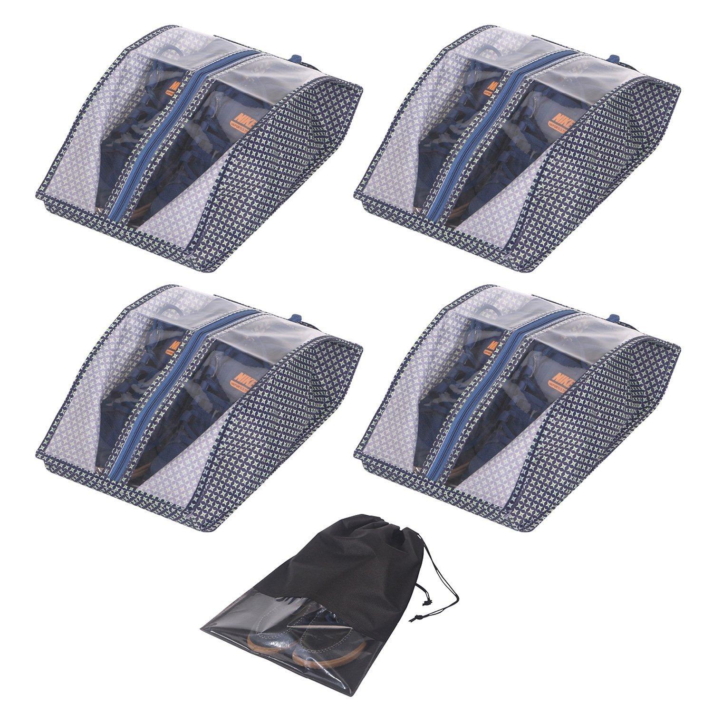 Travel Shoe Bags Waterproof Organizer Storage Tote Pouch with Zipper Closure For Men & Women (Pack 4, Dark Blue)