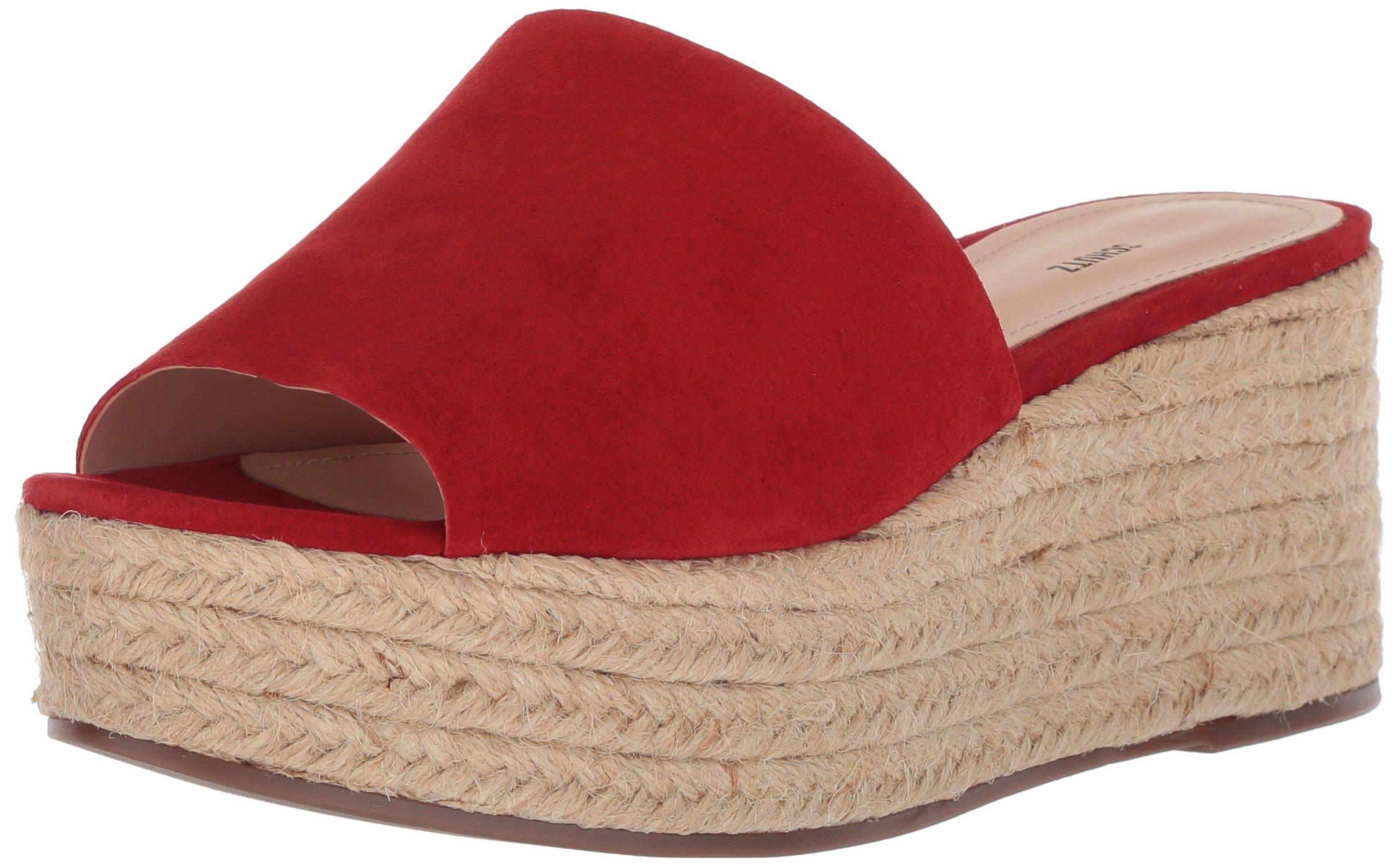 4bfa2d82cdd09 SCHUTZ Women's Thalia Espadrille Wedge Sandal, Tango red, 6 M US