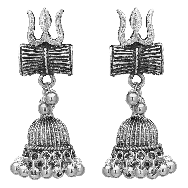 Jwellmart Indian Jewelry Wedding Bollywood Oxidized Silver Lord Shiva Trishul Jhumka Jhumki Jewelry Cute Earrings For Women and Girls