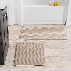 Lavish Home 2 Piece Memory Foam Bath Mat, Taupe