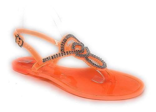 f4f3166ac6dc2 Pink Crush Women s Slingback Strap Rhinestone Embellished Thong Jelly Flat  Sandals in Orange Size  6