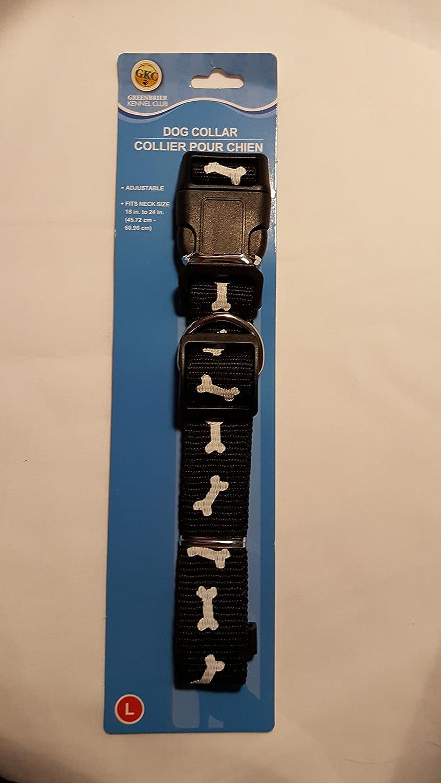 bluee Adjustable Dog Collar Dog Bone Print Size Large