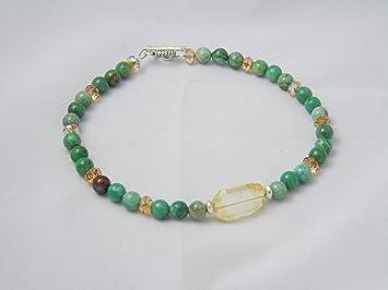 Amazon Com African Jade Citrine Swarovski Crystals Ankle Bracelet