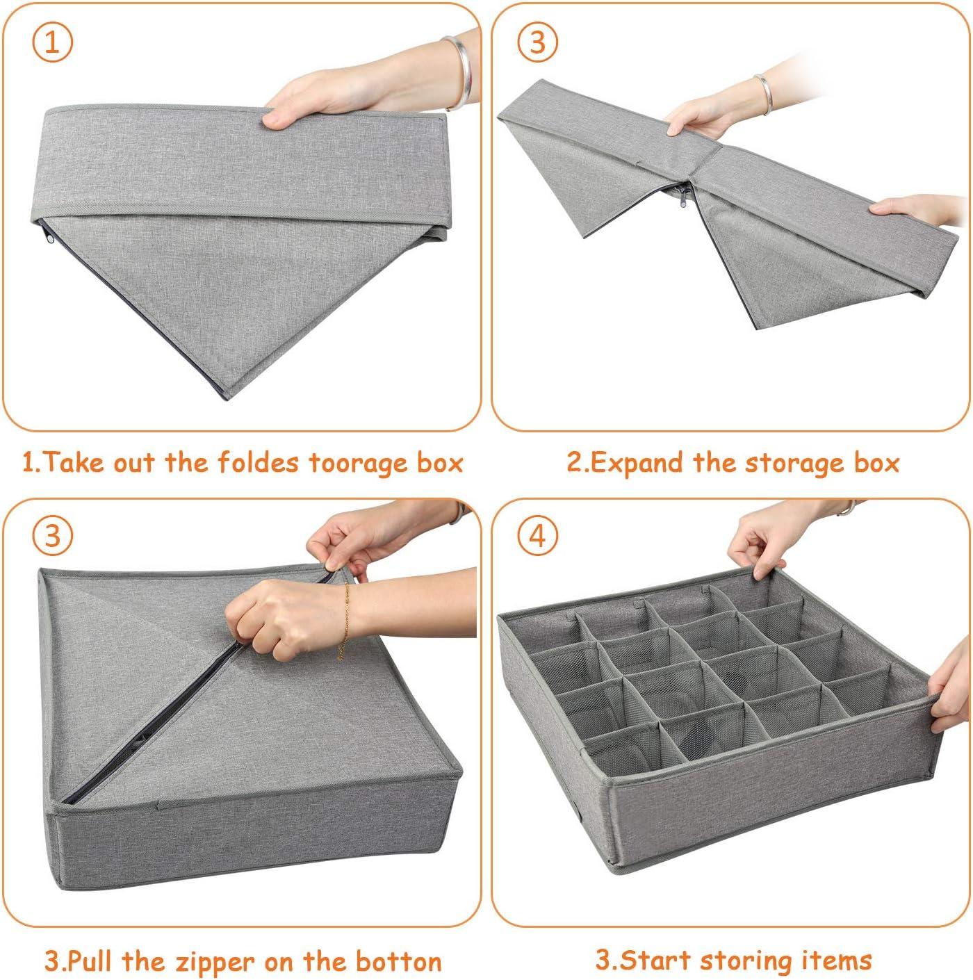 3 PCS Lavable Caja de Almacenamiento Plegable para Cajones LEADSTAR Organizador de Cajones Corbata Gris Divisor de Armario para almacenar Calcetines Ropa Interior Organizador Sujetador