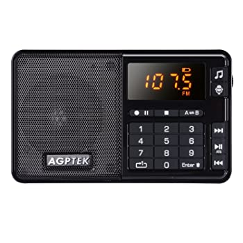 AGPTEK FM Pocket Radio, Portable Radio with Line-in Voice Radio Recorder and Mp3 Player