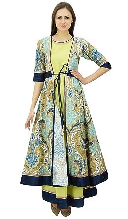 e63bddb463 Bimba Women's 2 Pcs Anarkali Cotton Kurta Kurti Long Maxi Dress ...