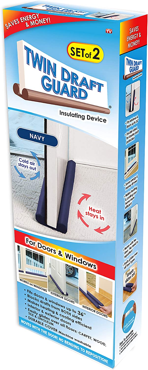Twin Draft Guard Original Door Draft Stopper, Year Round Insulator, for Summer and Winter Use Patented & TRADEMARKED