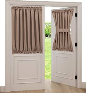"""Spring Garden Home Side Window Curtains for Front Door 40 inch Curtains Short Insulated Blackout Window Panel for Patio French Doors with Adjustable Tieback, 1 Panel, 54"""" W x 40"""" L, Taupe"""