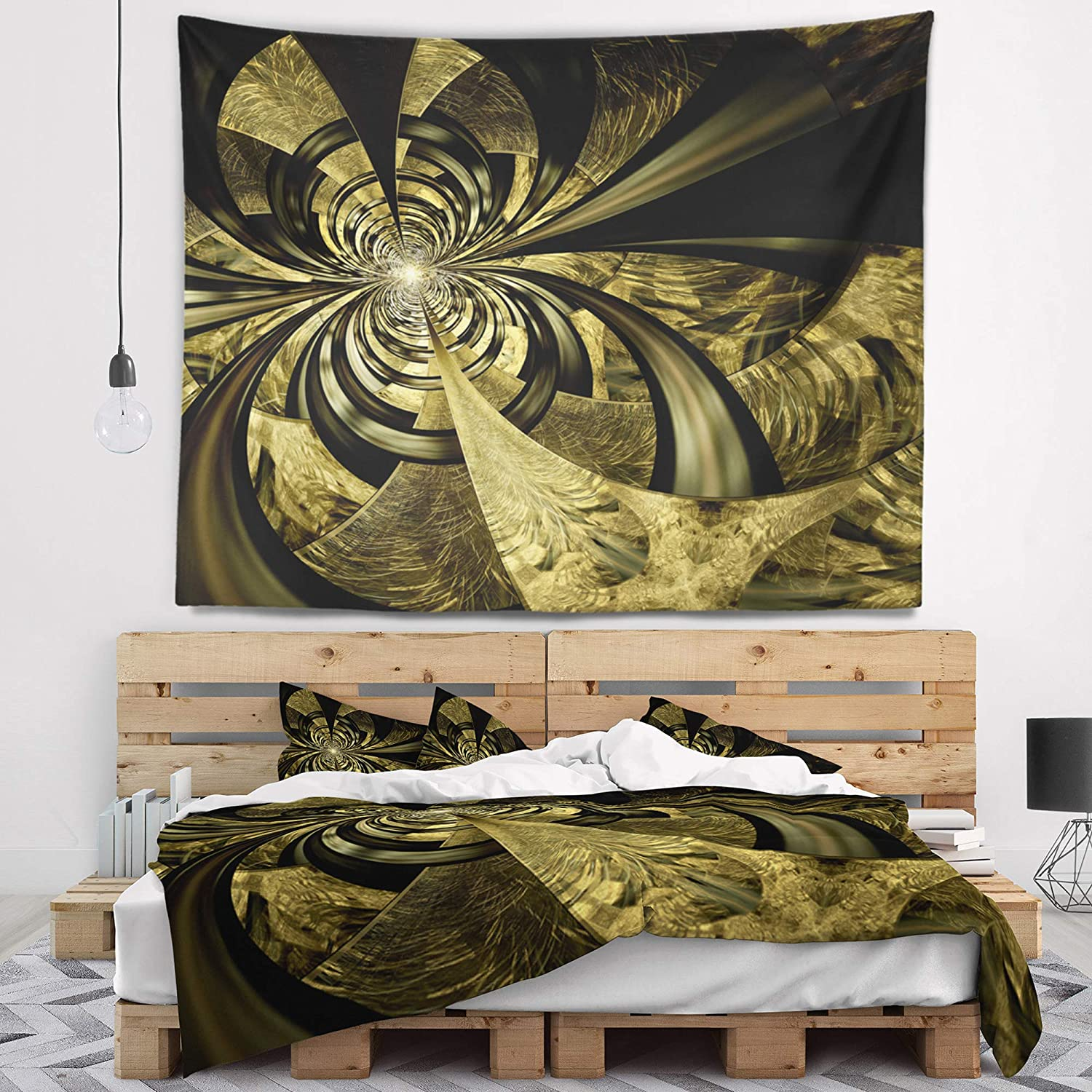 x 50 in Created On Lightweight Polyester Fabric Designart TAP16430-60-50  Colorful Fractal Flower Pattern Abstract Blanket D/écor Art for Home and Office Wall Tapestry Large 60 in