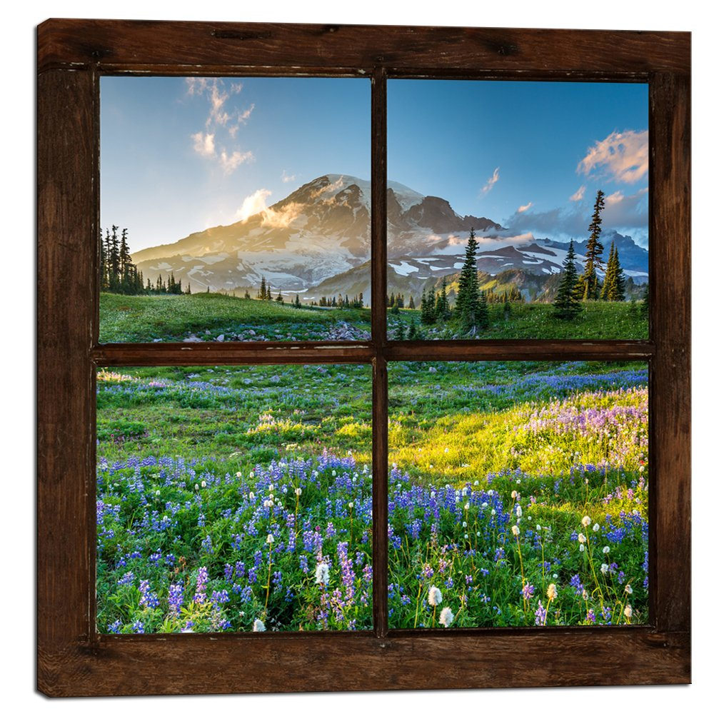 Sechars Canvas Prints Wall Art Vintage Window Frame Style Mount Rainier National Park Landscape Picture Wall Decor Stretched Giclee Print Modern Home Decoration Ready to Hang - 24x24