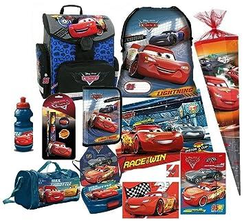 03488ec2f9b01 Disney Cars Auto 16 Teile Set Schulranzen RANZEN SCHULTÜTE 85 FEDERMAPPE  Tasche Tornister mit Sticker von