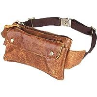 Loyofun Unisex Genuine Leather Waist Bag Messenger Fanny Pack Bum Bag for Men Women Travel Sports Running Hiking