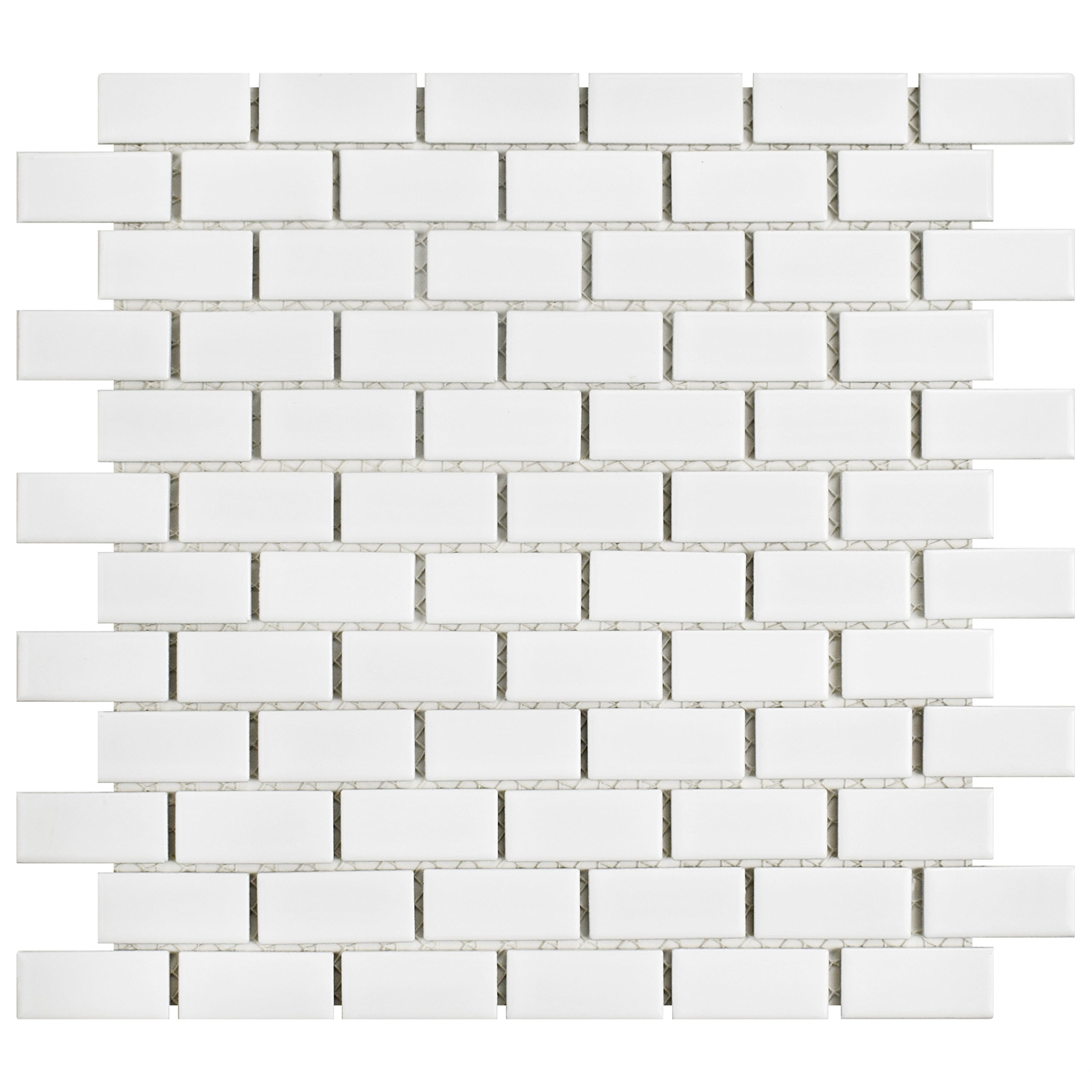 SomerTile FKOVBS11 Marion Subway Porcelain Mosaic Floor and Wall Tile, 11.875'' x 12'', Glossy White