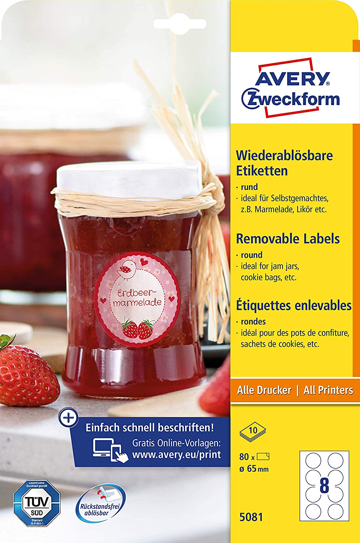 10/fogli bianco A4, 80/Etichette, rimovibile, rotondo, /ø 65/mm Avery Zweckform 5081/marmellata etichette
